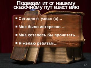 Сегодня я узнал (а)… Мне было интересно … Мне хотелось бы прочитать… Я желаю