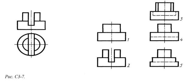 Определить вид слева детали по заданным главному виду и виду сверху. (см. Рис. С3-7)