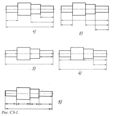 На (Рис. СЗ-1) показаны шрифты правильных и ошибочных расположений размерных линий. Определите, под каким номером обозначен правильный чертеж