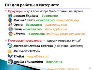 * ПО для работы в Интернете Браузеры – для просмотра Web-страниц на экране In