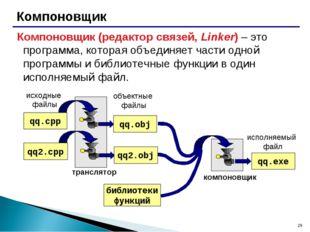 * Компоновщик Компоновщик (редактор связей, Linker) – это программа, которая