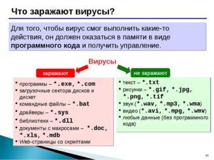 * Что заражают вирусы? Вирусы программы – *.exe, *.com загрузочные сектора ди