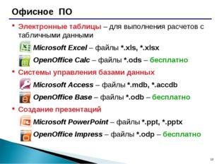 * Офисное ПО Электронные таблицы – для выполнения расчетов с табличными данны