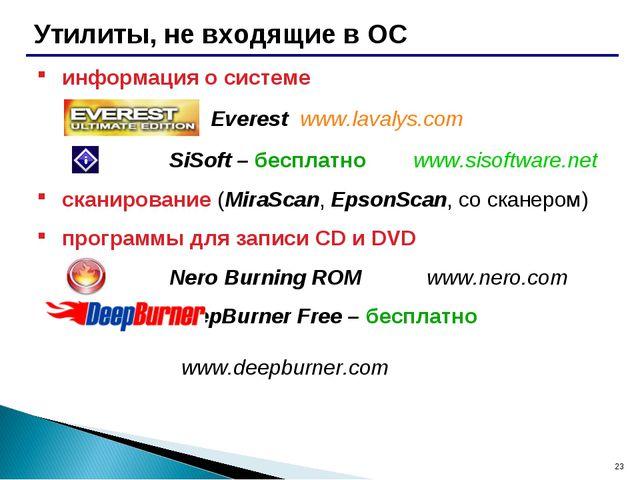 * Утилиты, не входящие в ОС информация о системе Everest www.lavalys.com SiSo...