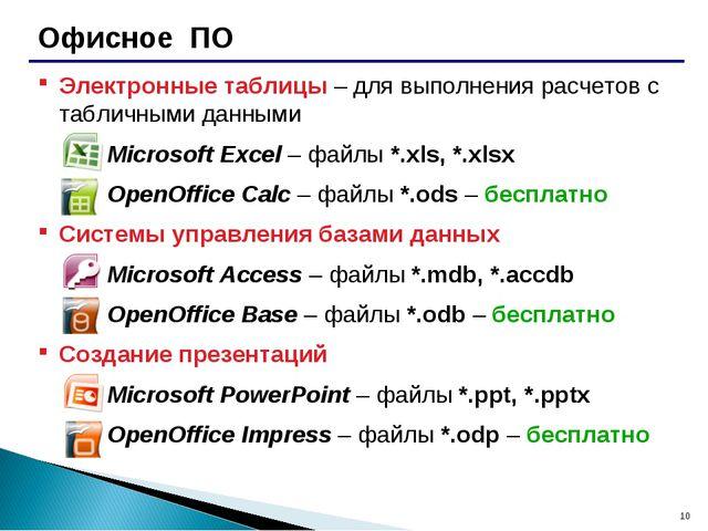 * Офисное ПО Электронные таблицы – для выполнения расчетов с табличными данны...
