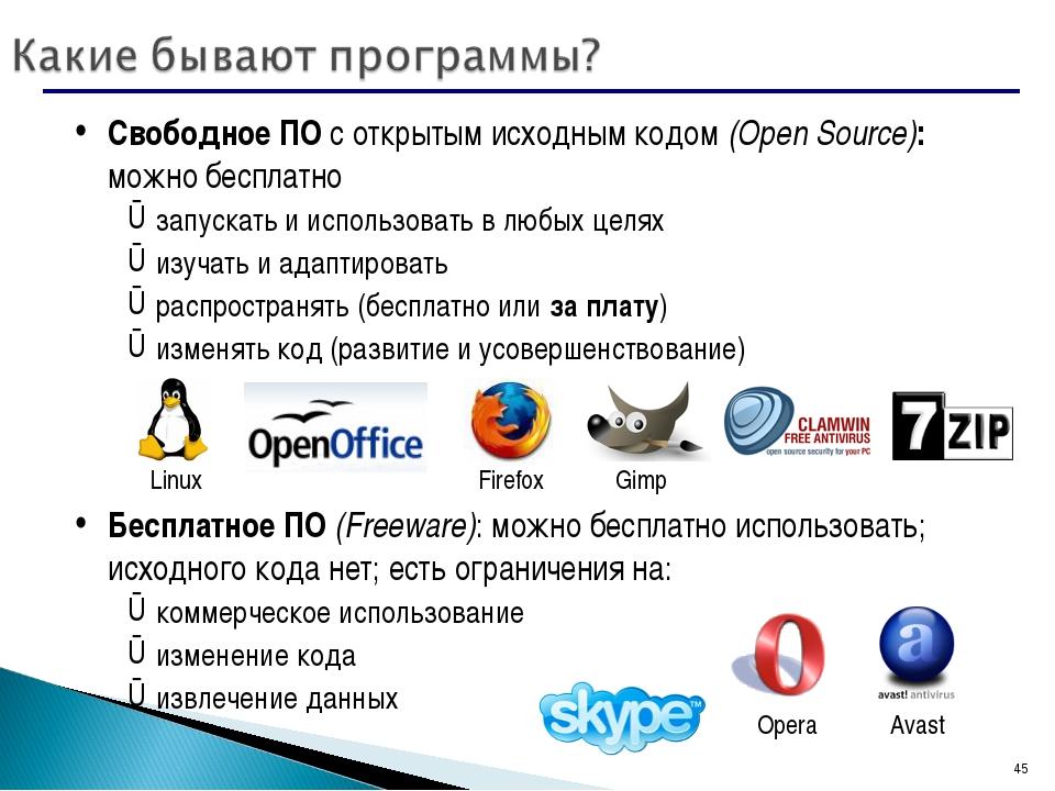 * Свободное ПО с открытым исходным кодом (Open Source): можно бесплатно запус...