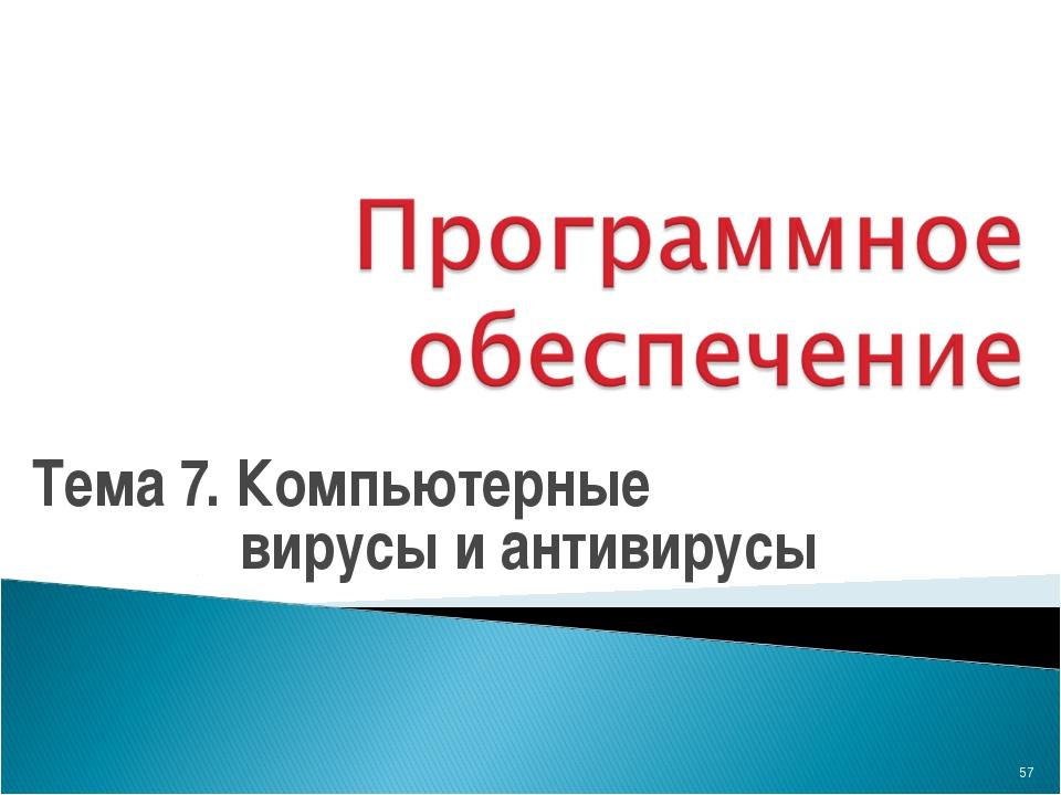 Тема 7. Компьютерные вирусы и антивирусы *