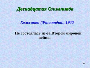 * Двенадцатая Олимпиада Хельсинки (Финляндия), 1940. Не состоялась из-за Втор