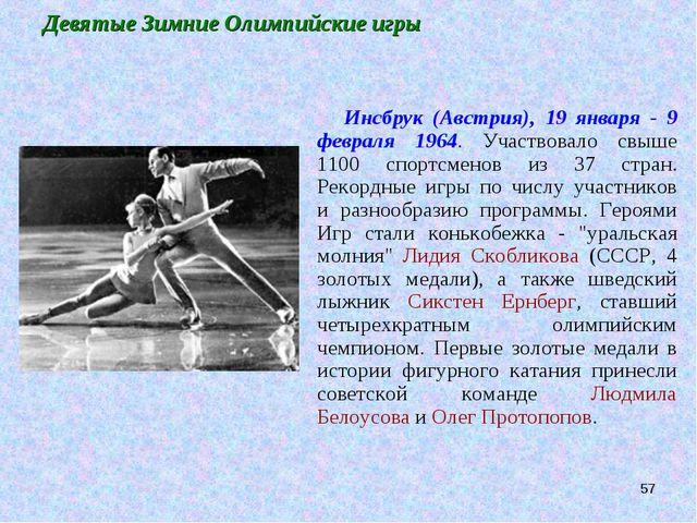 * Девятые Зимние Олимпийские игры Инсбрук (Австрия), 19 января - 9 февраля 19...
