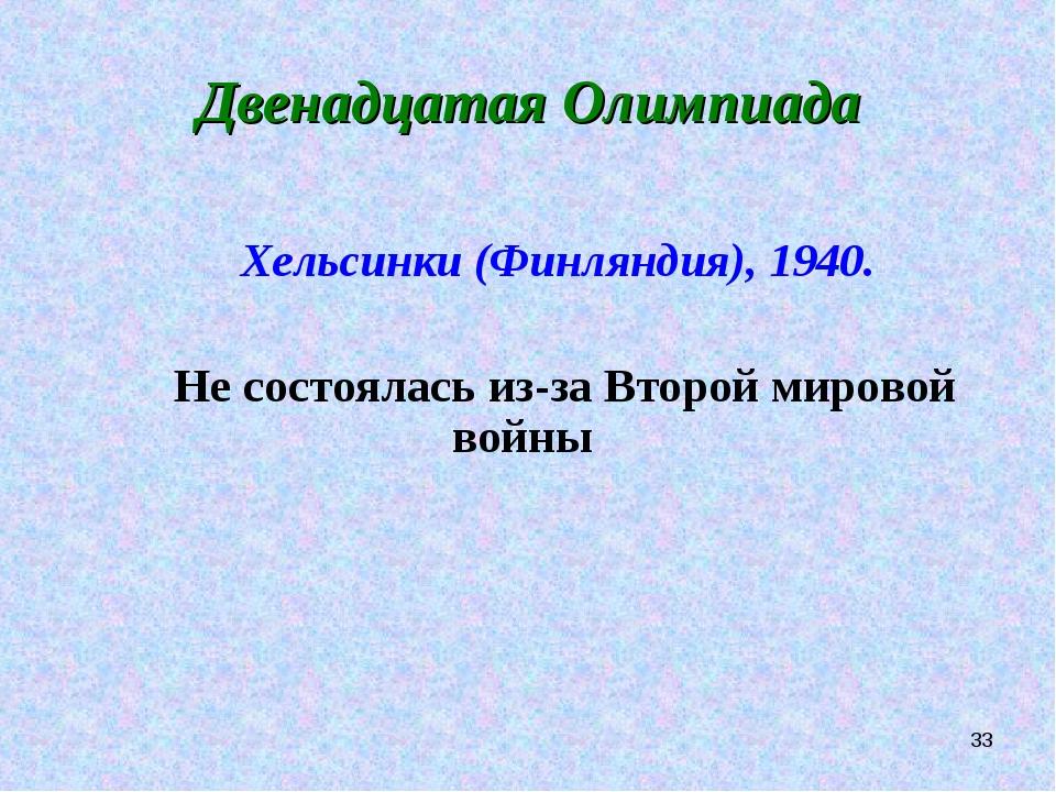 * Двенадцатая Олимпиада Хельсинки (Финляндия), 1940. Не состоялась из-за Втор...