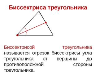 Биссектриса треугольника Биссектрисой треугольника называется отрезок биссект
