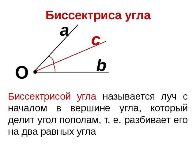 Биссектриса угла О b a с Биссектрисой угла называется луч с началом в вершине...