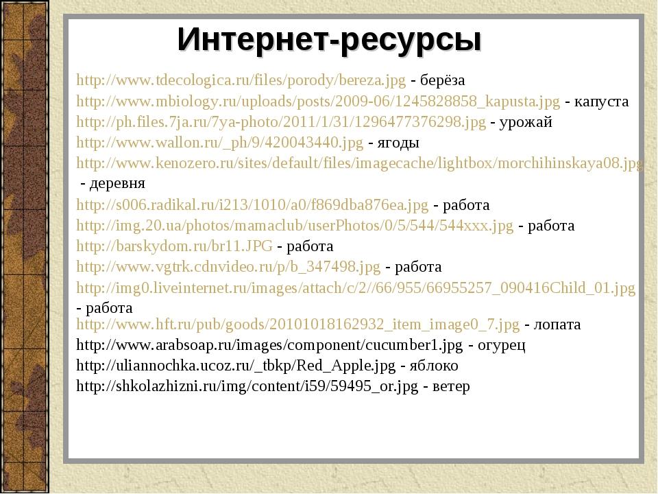 http://www.tdecologica.ru/files/porody/bereza.jpg - берёза Интернет-ресурсы h...