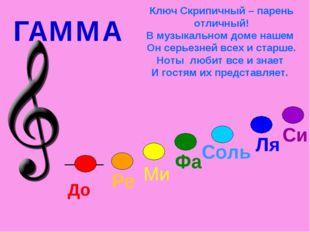 ГАММА Ключ Скрипичный – парень отличный! В музыкальном доме нашем Он серьезне