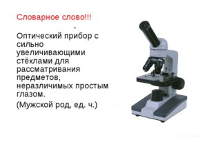 Словарное слово!!! МИКРОСКО́П-Оптический прибор с сильно увеличивающими стёкл