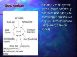 Цель приёма: Кластер используется, когда нужнособрать у учениковвсе идеи ил