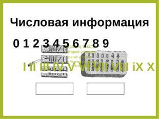 Числовая информация 0 1 2 3 4 5 6 7 8 9 I II III IV V VI VII VIII iX X