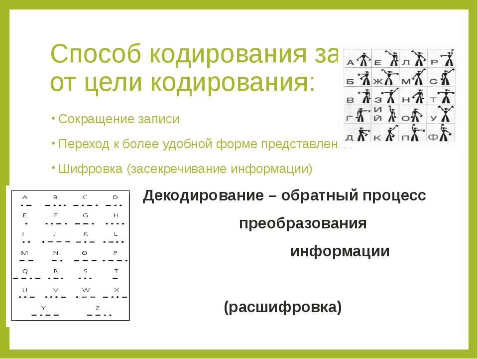 Способ кодирования зависит от цели кодирования: Сокращение записи Переход к б...