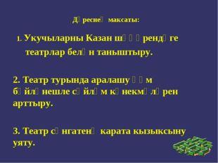 Дәреснең максаты: 1. Укучыларны Казан шәһәрендәге театрлар белән таныштыру. 2