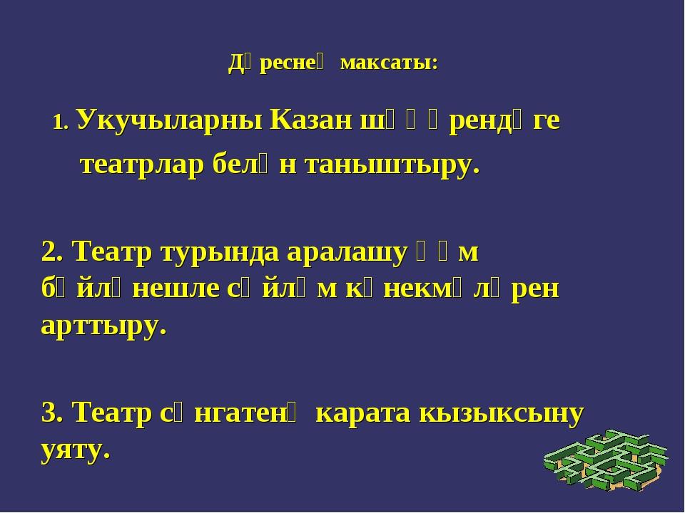 Дәреснең максаты: 1. Укучыларны Казан шәһәрендәге театрлар белән таныштыру. 2...