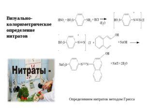 Визуально-колориметрическое определение нитратов Определением нитратов методо