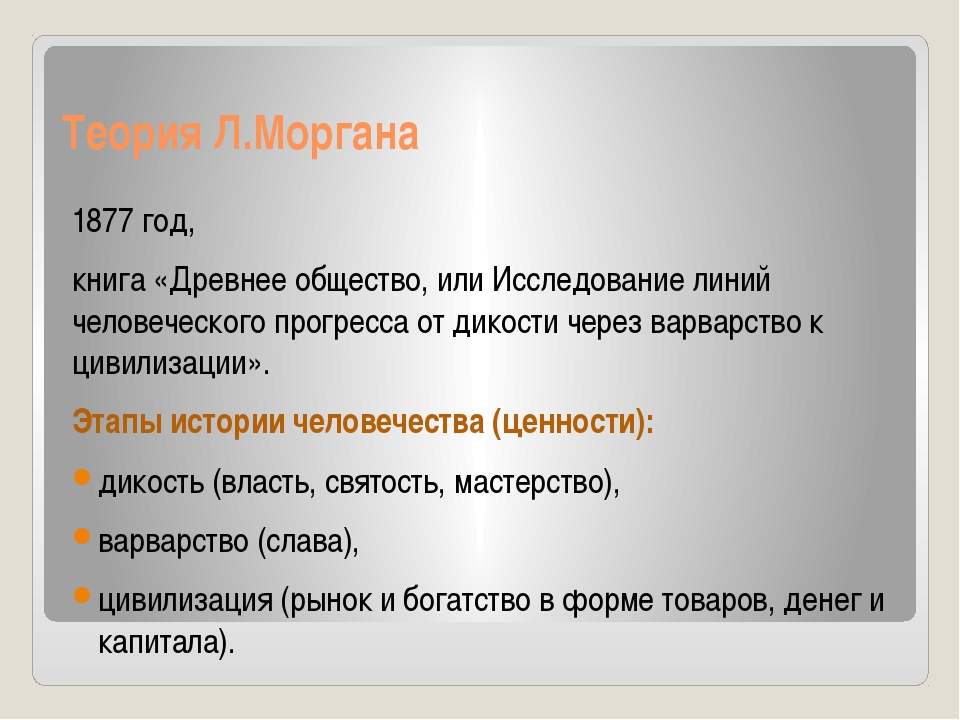 Теория Л.Моргана 1877 год, книга «Древнее общество, или Исследование линий че...