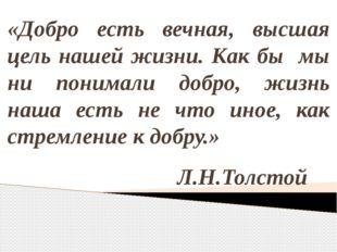 «Добро есть вечная, высшая цель нашей жизни. Как бы мы ни понимали добро, жиз