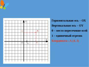 Горизонтальная ось – ОХ Вертикальная ось – ОY 0 – место пересечение осей 1 –