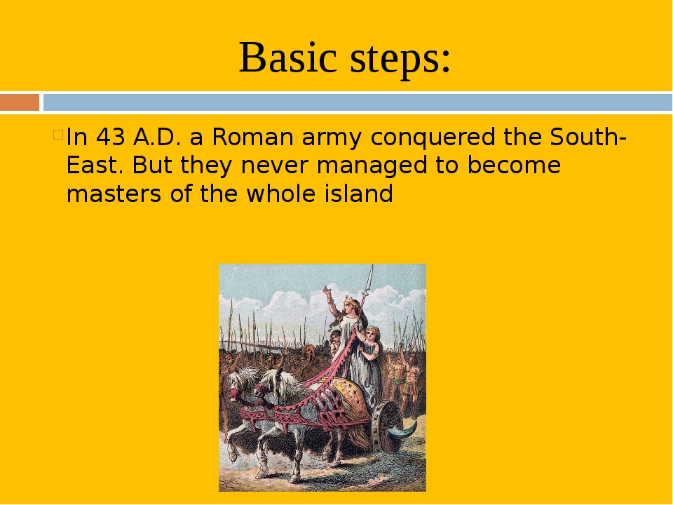 Basic steps: In 43 A.D. a Roman army conquered the South-East. But they never...