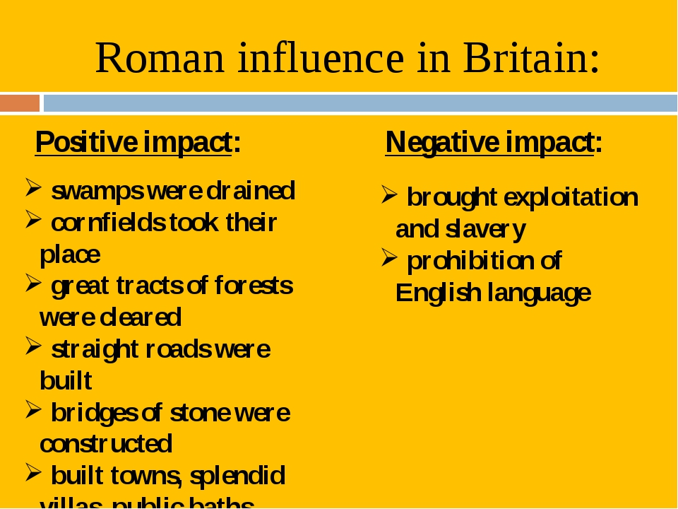 Roman influence in Britain: Positive impact: Negative impact: swamps were dra...