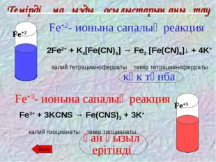 Темірдің маңызды қосылыстарын анықтау Fe+2- ионына сапалық реакция 2Fe2+ + K4
