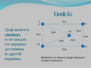 Граф G: Граф является связным, если каждая его вершина достижима из другой ве