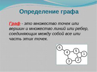 Определение графа Граф - это множество точек или вершин и множество линий или