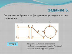 Задание 5. Определить изображают ли фигуры на рисунке один и тот же граф или