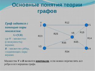 Основные понятия теории графов Граф задается с помощью пары множеств: G=(V,R)