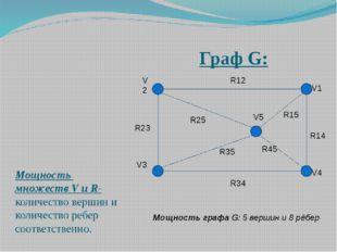 Граф G: Мощность множеств V и R- количество вершин и количество ребер соответ