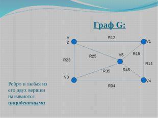 Граф G: Ребро и любая из его двух вершин называются инцидентными V2 V3 V1 V4