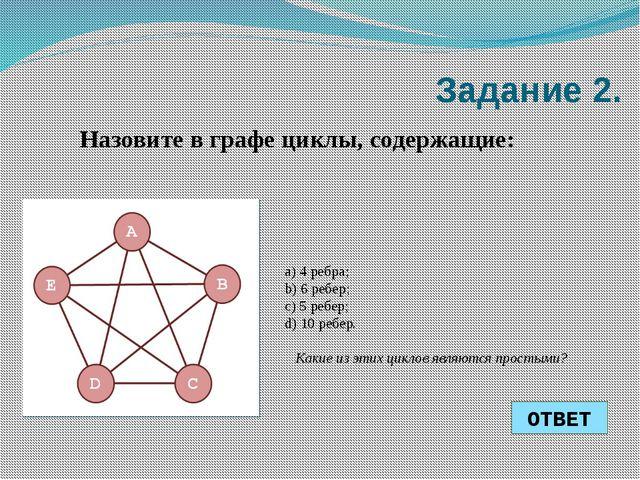 a) 4 ребра; b) 6 ребер; c) 5 ребер; d) 10 ребер. Какие из этих циклов являют...