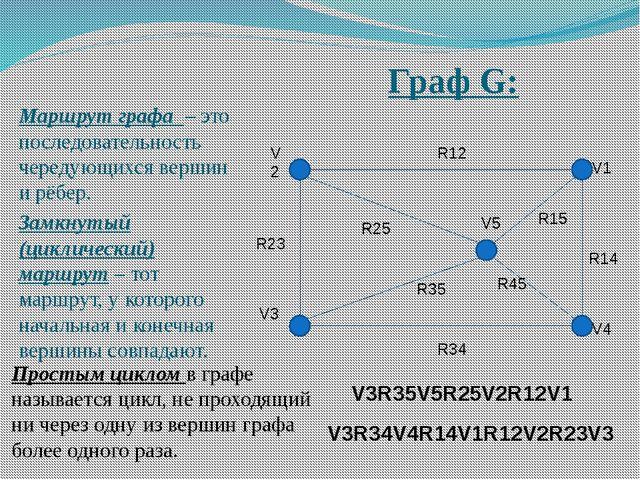 Граф G: Маршрут графа – это последовательность чередующихся вершин и рёбер. З...