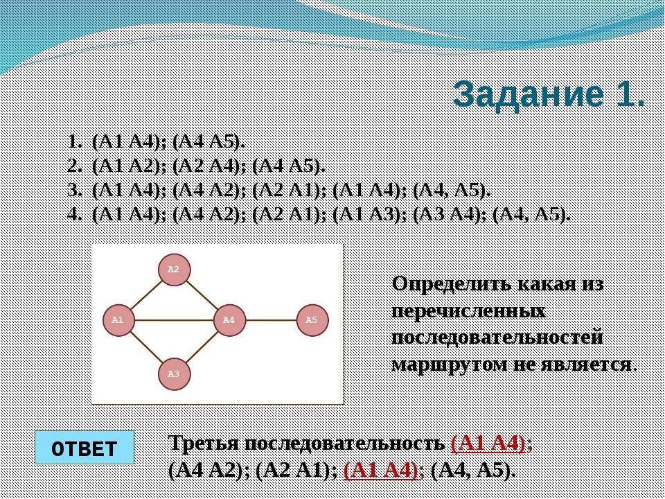 Задание 1. (А1 А4); (А4 А5). (А1 А2); (А2 А4); (А4 А5). (А1 А4); (А4 А2); (А2...