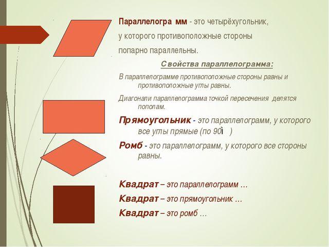 Параллелогра́мм- это четырёхугольник, у которого противоположные стороны поп...