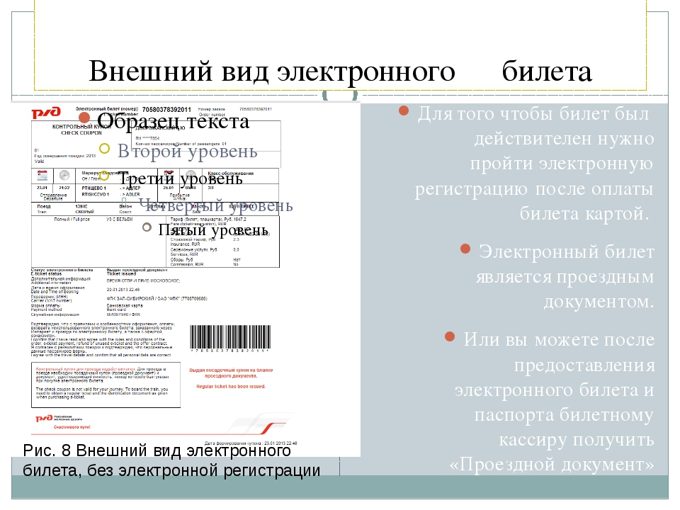 Внешний вид электронного билета Для того чтобы билет был действителен нужно п...