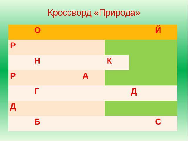 Кроссворд «Природа» О Й Р Н К Р А Г Д Д Б С