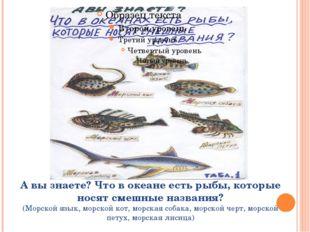 А вы знаете? Что в океане есть рыбы, которые носят смешные названия? (Морской