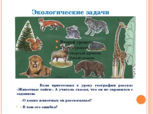 Коля приготовил к уроку географии рассказ «Животные тайги». А учитель сказал