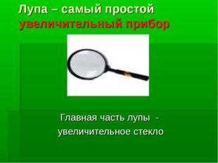 Лупа – самый простой увеличительный прибор Главная часть лупы - увеличительно