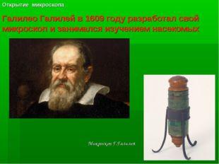 Галилео Галилей в 1609 году разработал свой микроскоп и занимался изучением н