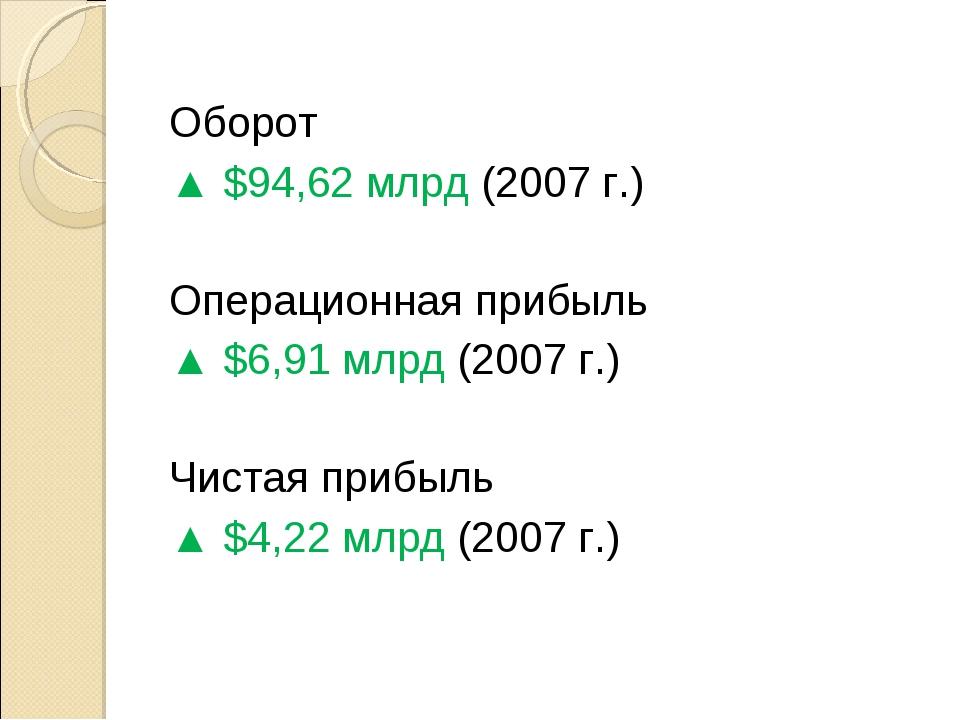 Оборот ▲ $94,62 млрд (2007 г.) Операционная прибыль ▲ $6,91 млрд (2007 г.)...