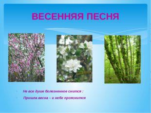 Не все душе болезненное снится : Пришла весна – и небо прояснится ВЕСЕННЯЯ П
