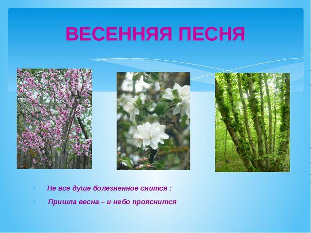 Не все душе болезненное снится : Пришла весна – и небо прояснится ВЕСЕННЯЯ П...